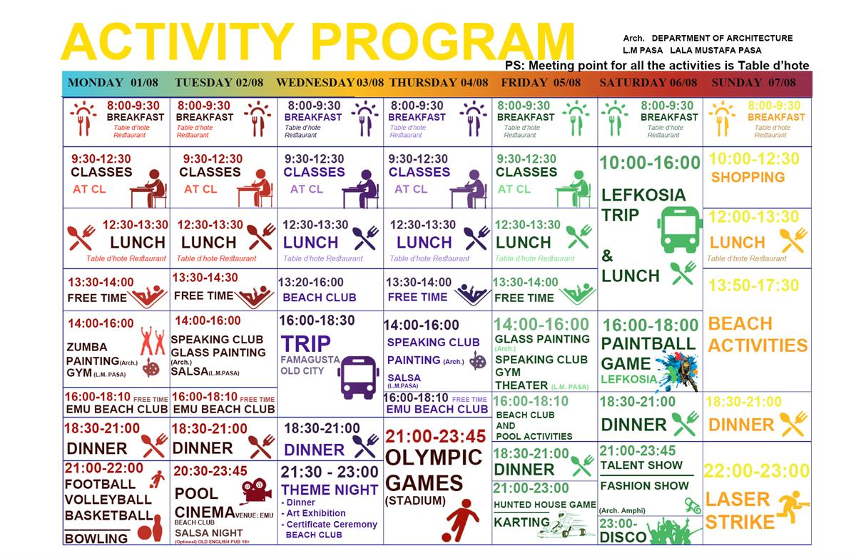 Activity Programme | EMU International Summer School 01th - 07th August 2016