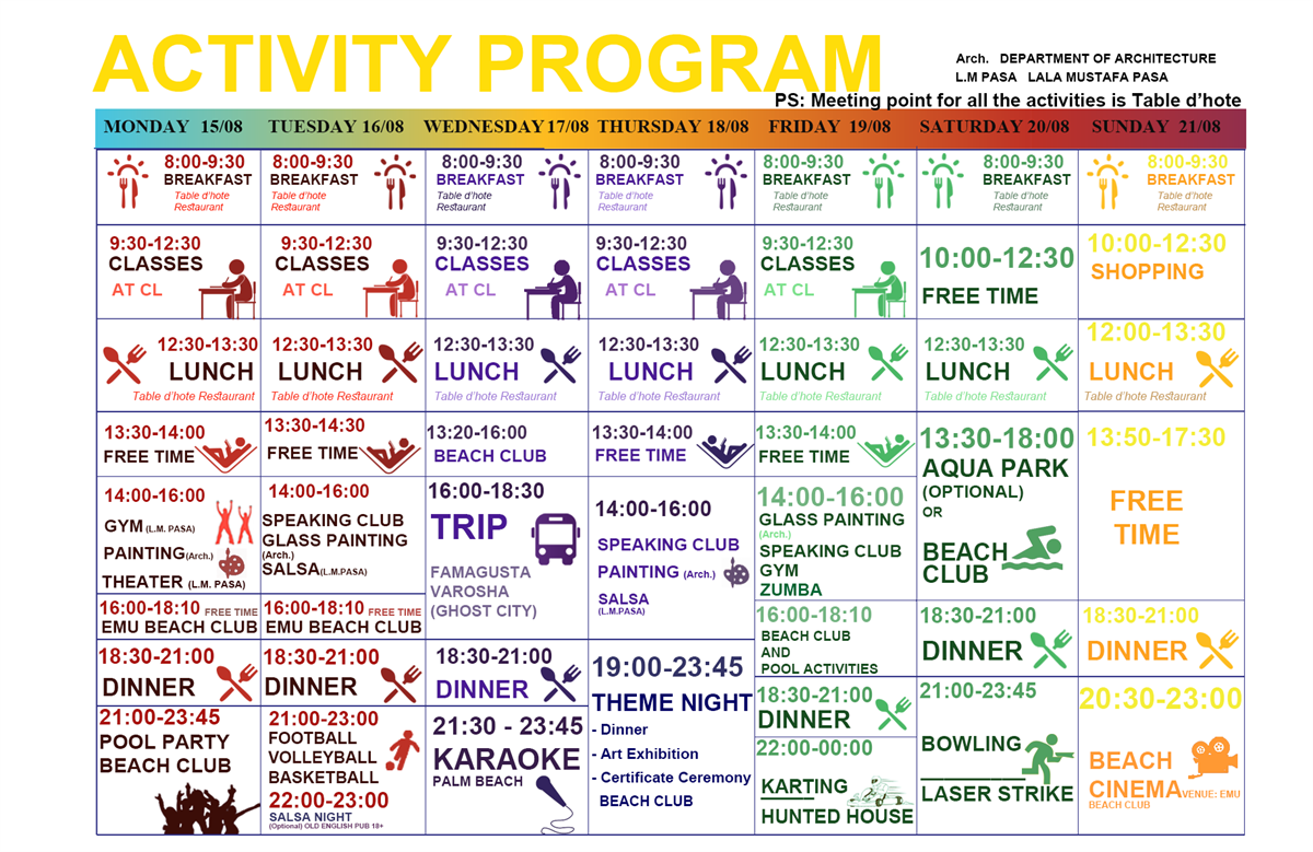 Activity Programme | EMU International Summer School 15th-21st August 2016